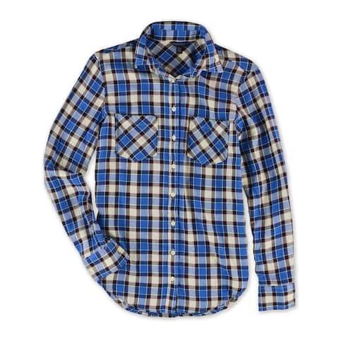 Aeropostale Womens Flannel Plaid Button Up Shirt