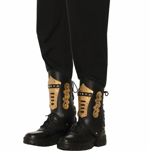Steampunk Black/Gold Costume Boot Tops Adult - Black