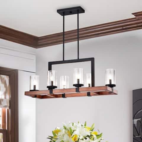 Black and Wood 6-Light Rectangular Linear Kitchen Island Lighting