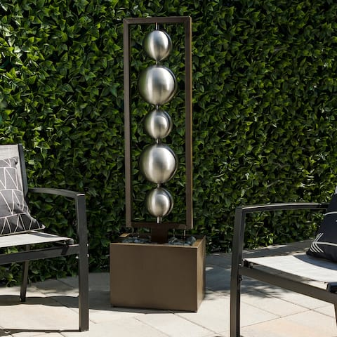 """Alpine Corporation 55"""" Tall Outdoor Modern Column Fountain with Stainless Steel Orbs, Silver"""