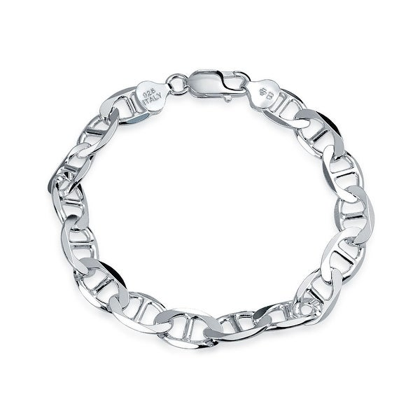 bbba6bb842fc Shop Bling Jewelry Sterling Silver Marina Link Mens Bracelet Italy ...