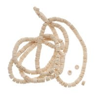 Pale Wood Coconut Shell Rondelle Tube Beads - 3mm Wide 23 Inch Strand