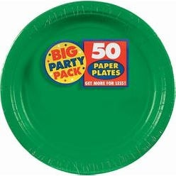 "Festive Green - Big Party Pack Dinner Plates 9"" 50/Pkg"