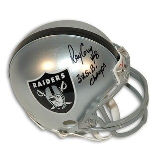 Autographed Ray Guy Oakland Raiders Mini Helmet Inscribed 3X SB Champs and 8