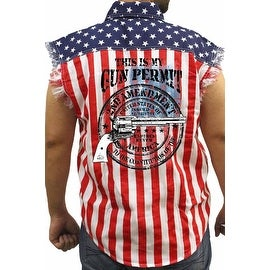 Men's Biker USA Flag Sleeveless Denim Shirt My Gun Permit 2nd Amendment Pride