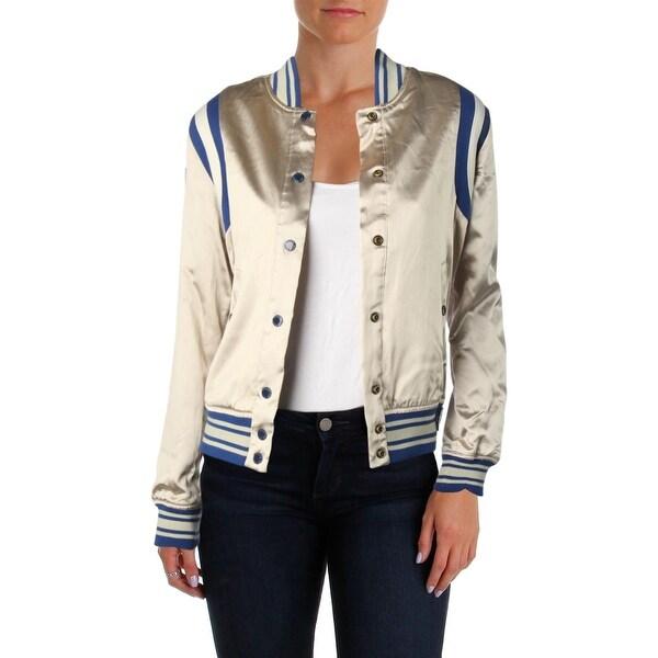 018fb10db Shop Scotch & Soda Womens Blue Heroes Bomber Jacket Silky Sporty ...