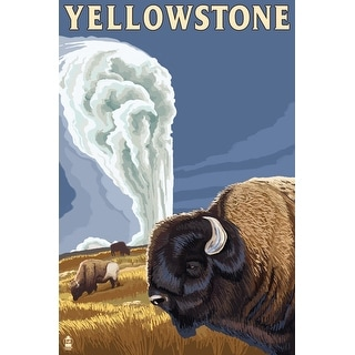 Yellowstone National Park Wyoming Bison Old Faithful Lantern Press Artwork Art Print Multiple Sizes Available Overstock Com Shopping