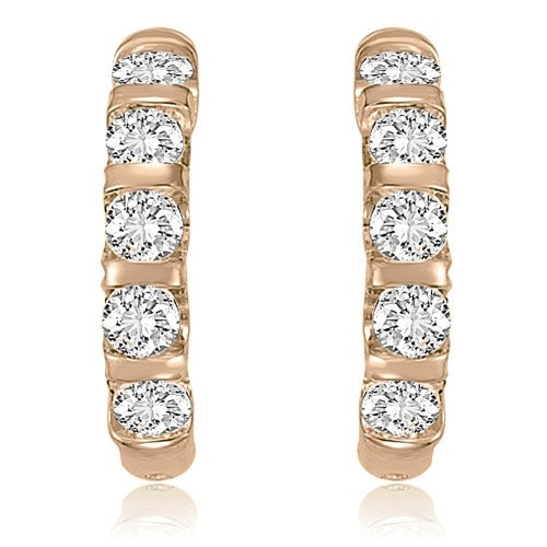 2.00 cttw. 14K Rose Gold Round Cut Diamond Huggies