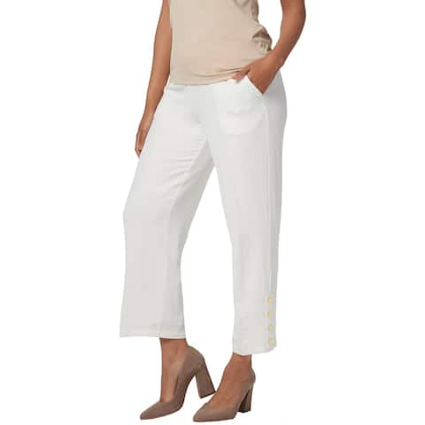 Linea by Louis Dell'Olio Womens Plus Crepe Pull-On Crop Pants L Ivory A351111