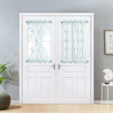 Topfinel Sheer Rod Pocket French Door Curtains Panels (Set of 2)