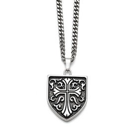 Chisel Stainless Steel Antiqued Cross Shield Pendant - 24 in