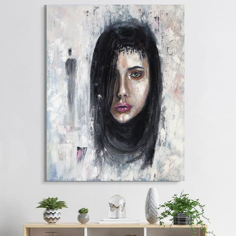 Designart 'Portrait Of A Young Woman II' Traditional Canvas Wall Art Print