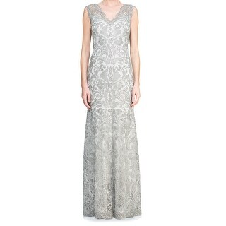 Tadashi Shoji NEW Silver Womens Size 12 V-Neck Embroidered Gown Dress