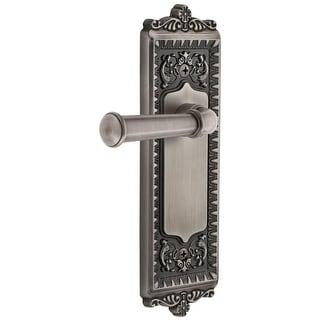 """Grandeur WINGEO_PRV_238  Windsor Solid Brass Rose Privacy Door Lever Set with Georgetown Lever and 2-3/8"""" Backset"""