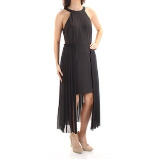 RACHEL ROY $169 Womens New 1054 Black Pleated Jewel Neck Hi-Lo Party Dress 4 B+B