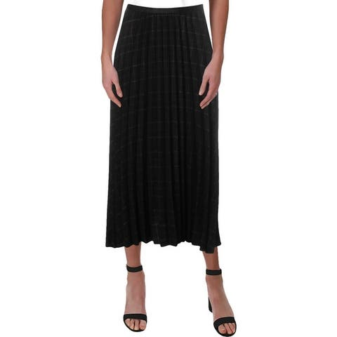 see U soon Womens Pleated Skirt Plaid Office - Black