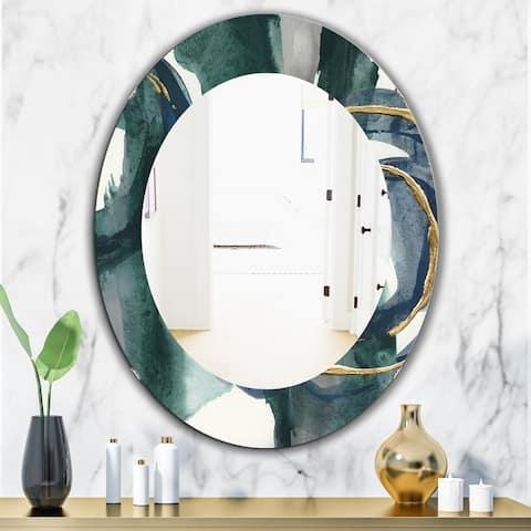 Designart 'Indigo and Gold III' Glam Wall Mirror - Oval or Round Wall Mirror