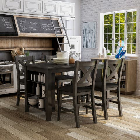 Furniture of America Blye Rustic Grey 5-piece Counter Dining Set