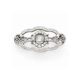 Silvertone Downton Abbey Clear Crystal Pin