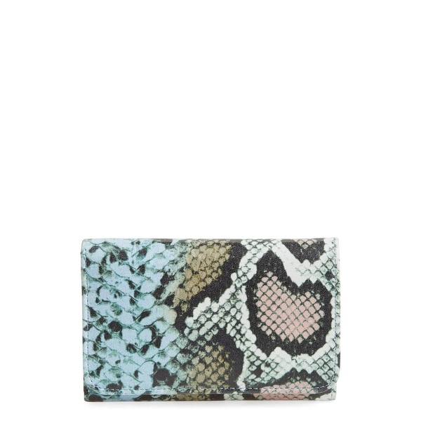 Hobo Original Green Pink Jill Snake Print Trifold Leather Wallet
