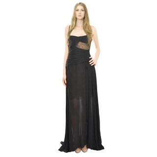 Emanuel Ungaro Seductive Black Silk Chiffon Lace Evening Gown Dress