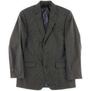 Shaquille O'Neal Mens Wool Pinstripe Two-Button Suit Jacket - 40L