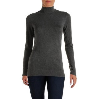 Calvin Klein Womens Mock Turtleneck Sweater Knit Ribbed Trim