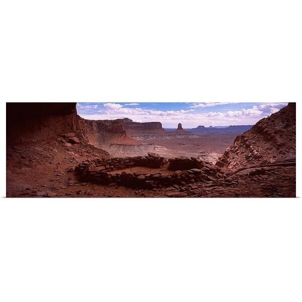 """Stone circle on an arid landscape, False Kiva, Canyonlands National Park, San Juan County, Utah,"" Poster Print"