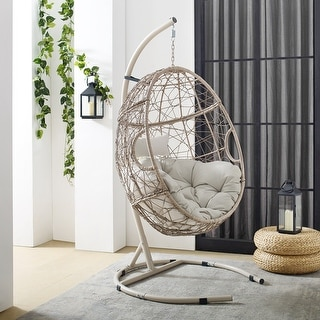 "Cleo Outdoor Wicker Hanging Egg Chair - 42""W x 42""D x 81""H"