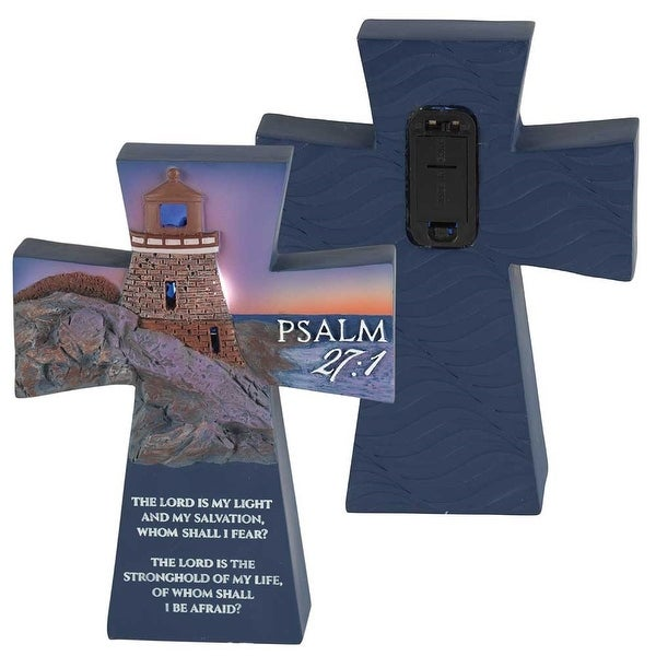 "The Lord Is My Light Psalm 27:1 Illuminated Lighthouse Resin Tabletop Cross 5"" x 4"" - other-frame-size"