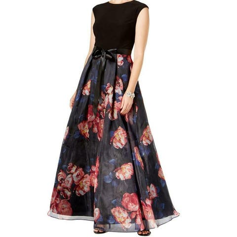 SLNY Women's Dress Black Size 4 Floral-Print Pleated High-Neck Gown