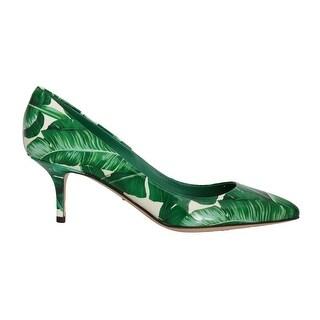 Dolce & Gabbana Green Banana Leafs Leather Pumps - eu39-us8-5