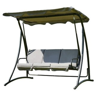 Costway 3 Person Swing Canopy Awning Hammock Steel Outdoor Patio Gray