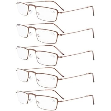 10a0f563e81e Shop Eyekepper 5-Pack Stainless Steel Frame Half-eye Style Reading Glasses  Brown +2.75 - Free Shipping On Orders Over  45 - Overstock - 15936393
