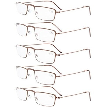 41ebdce6c1d Shop Eyekepper 5-Pack Stainless Steel Frame Half-eye Style Reading Glasses  Brown +2.75 - Free Shipping On Orders Over  45 - Overstock.com - 15936393
