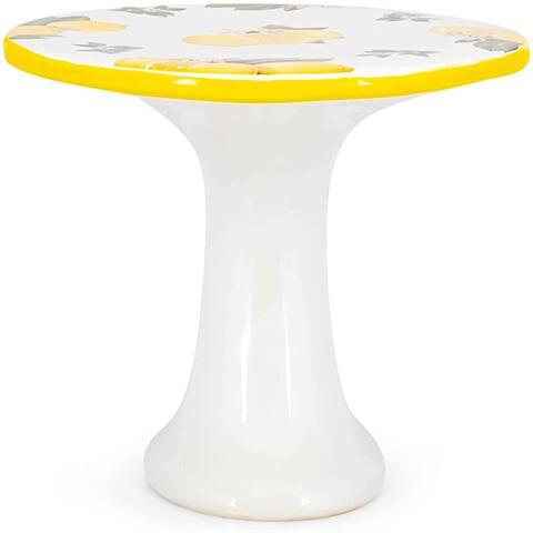 RAZ Imports Limoncello 10.25-inch Lemon Cake Stand, Seasonal Décor - Exact Size