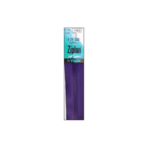 "YKK Ziplon Coil Zipper 9"" Purple"