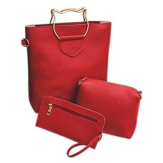 QZUnique Women's PU Leather Crossbody Bag Large Capacity Handbag Shoulder Bag Metal Handle Tote Bags 3 Bags