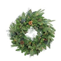 Pre-Lit Mixed Winter Pine Artificial Christmas Wreath - 24 Inch, Clear Lights - green