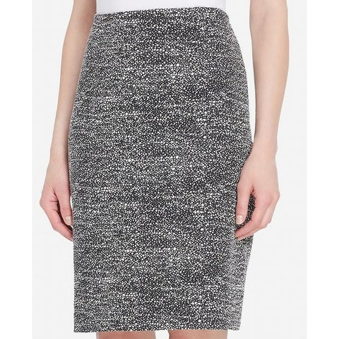 Tahari by ASL Black Womens Size 10P Petite Tweed Pencil Skirt