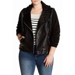 Jolt NEW Black Women's Size 1X Plus Faux-Leather Hooded Moto Jacket