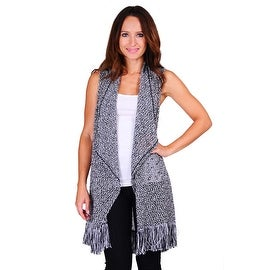 Simply Ravishing Women's Sleeveless Texture Knit Open Cardigan - Black/White