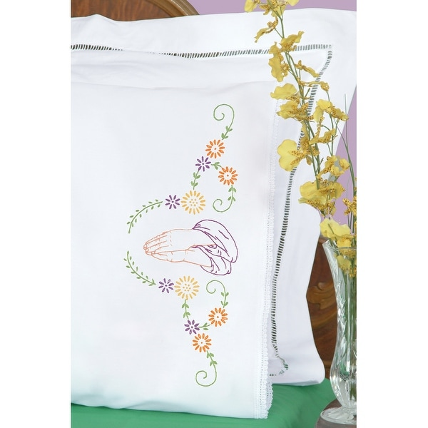 Stamped Pillowcases W/White Lace Edge 2/Pkg-Praying Hands - White