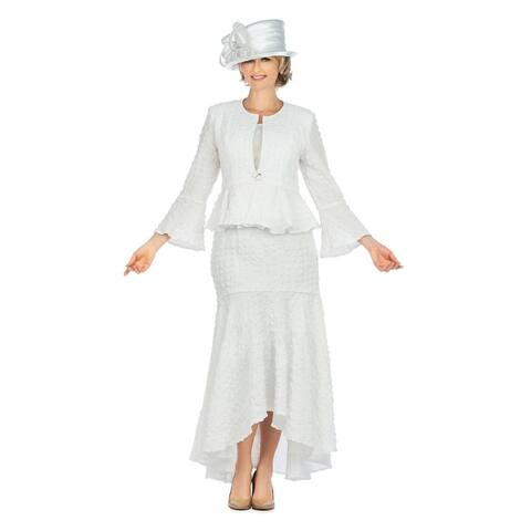 3 piece Popcorn Fabric Peplum Jacket, Camisole & Hi-Lo Skirt Set