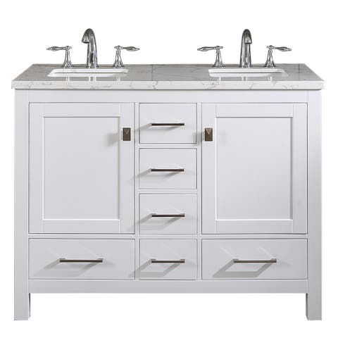 """Totti Memphis 44"""" White Transitional Double Sink Bathroom Vanity w/ White Carrara Style Man-Made Stone Top"""