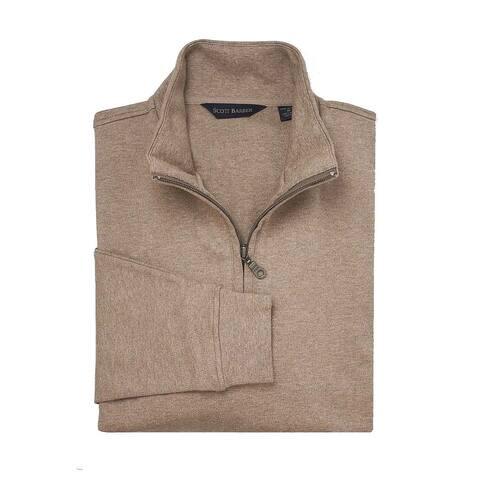 Scott Barber Mens Sweater Khaki Beige Size Medium M 1/2 Zip Pullover