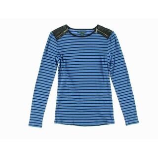 Lauren by Ralph Lauren Striped Long Sleeve Zip Shoulder Sweater - XL