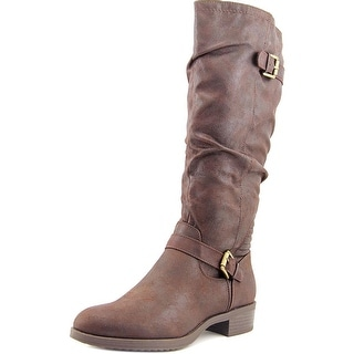 White Mountain Chip Wide Calf Women Round Toe Canvas Knee High Boot