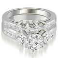 2.85 cttw. 14K White Gold Channel Set Princess and Round Cut Diamond Bridal Set - Thumbnail 0