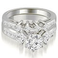 3.10 cttw. 14K White Gold Channel Set Princess and Round Cut Diamond Bridal Set - Thumbnail 0
